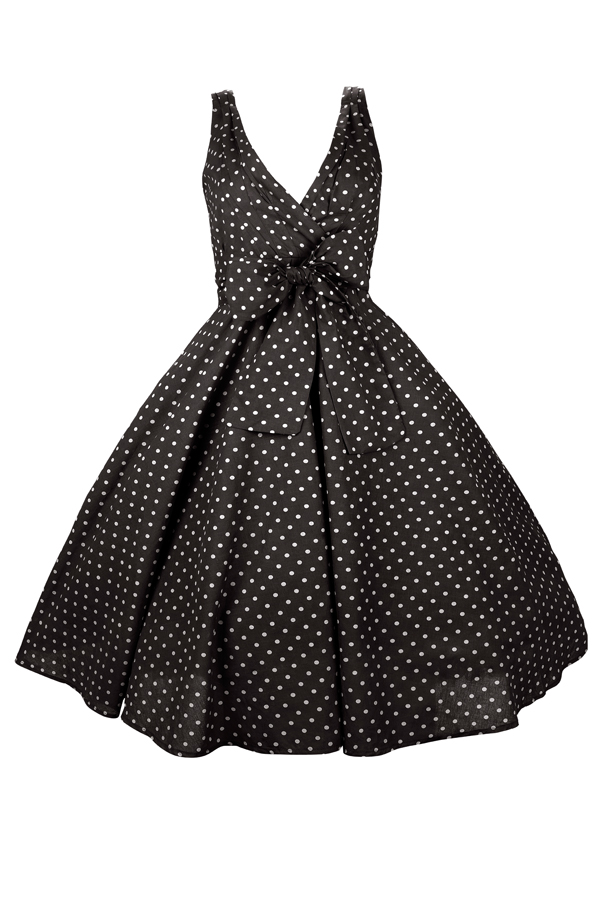 Womens Retro Mid-Tie Black Polka Dot 1950's Party Summer Dress - Pack of 10