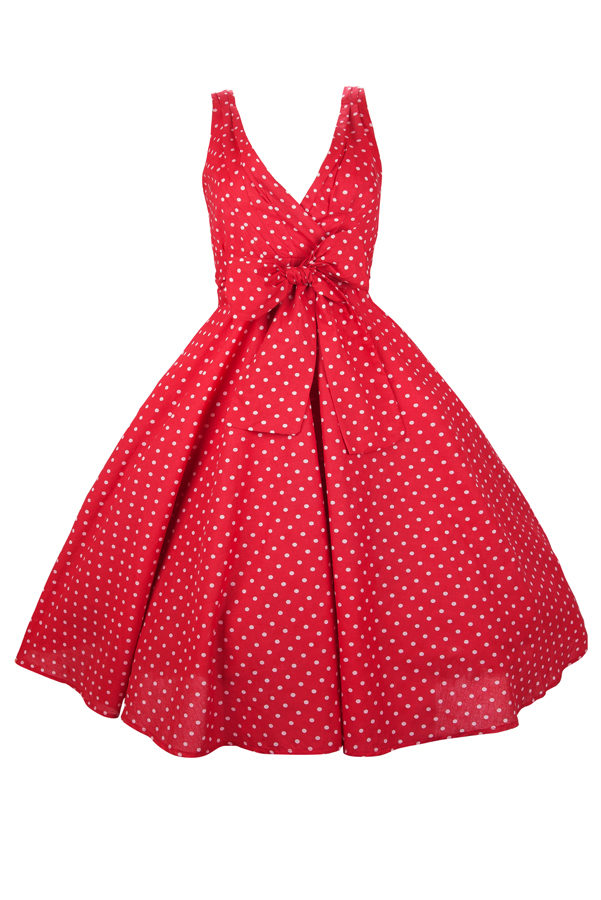 Womens Retro 1950's Party Summer Mid-Tie Red Polka Dot Dress - Pack of 10