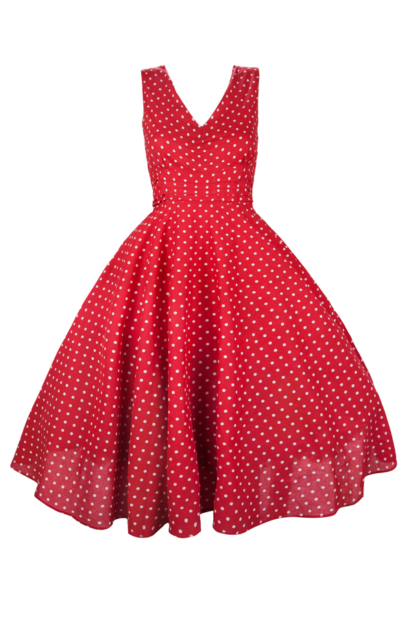 Womens Retro Red No Belt 1950's Party Summer Dress By Kushi - Pack of 10