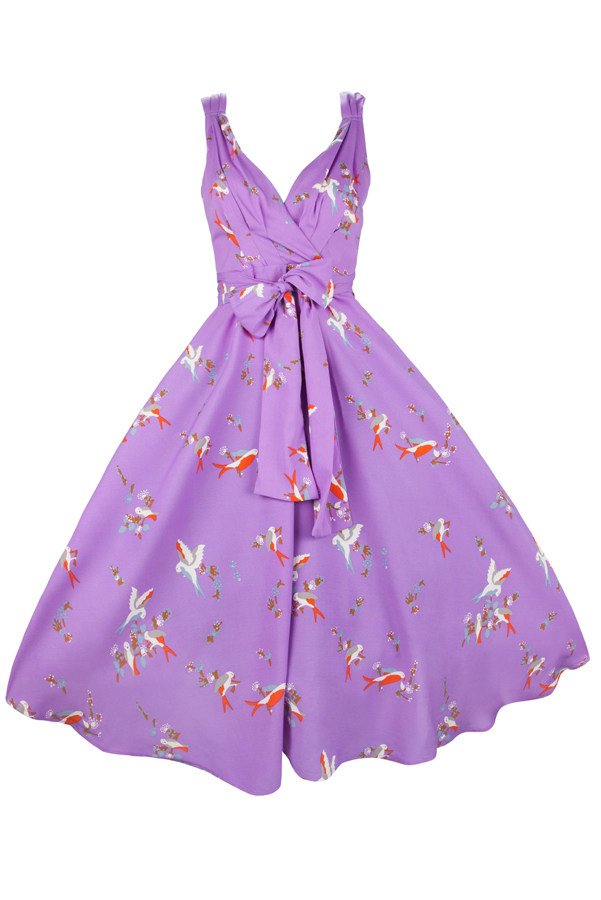 Womens Retro Purple Bird 1950's Party Summer Dress By Kushi - Pack of 10
