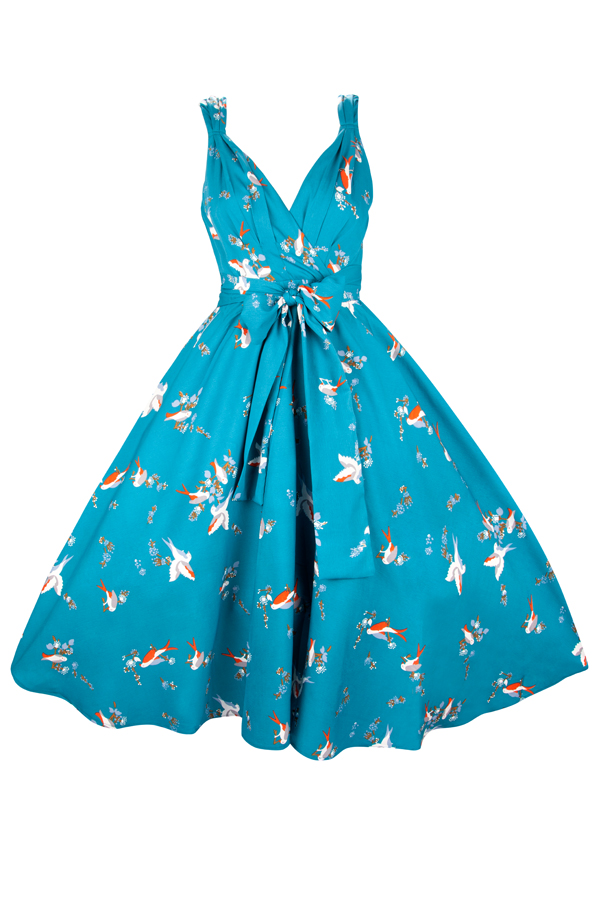 Womens Retro Teal Bird 1950's Party Summer Dress  - Pack of 10