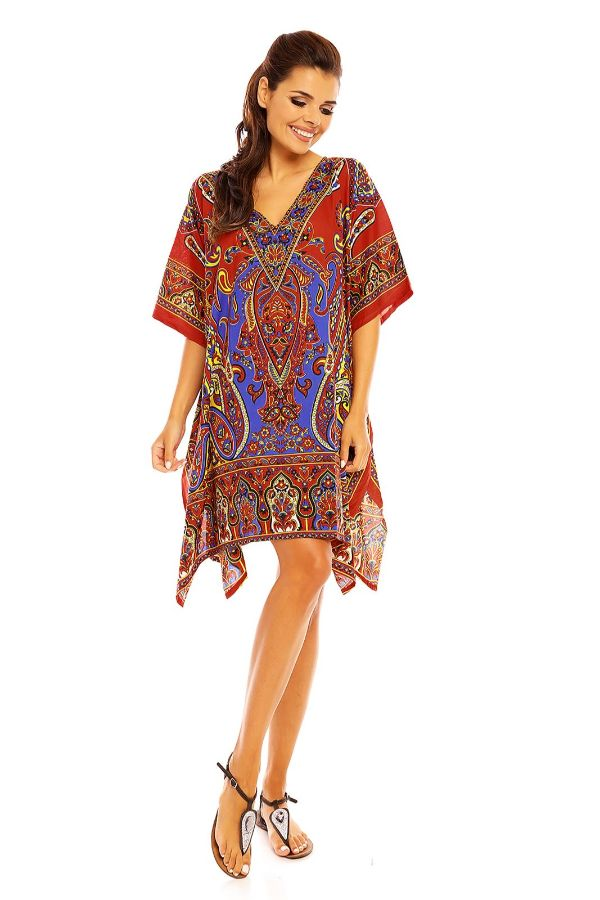 Ladies Mid Length Tribal Kimono Kaftan in Red - Pack of 12
