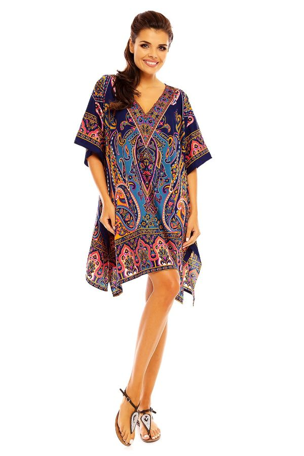 Ladies Mid Length Tribal Kaftan Kimono in Blue Pack of 12