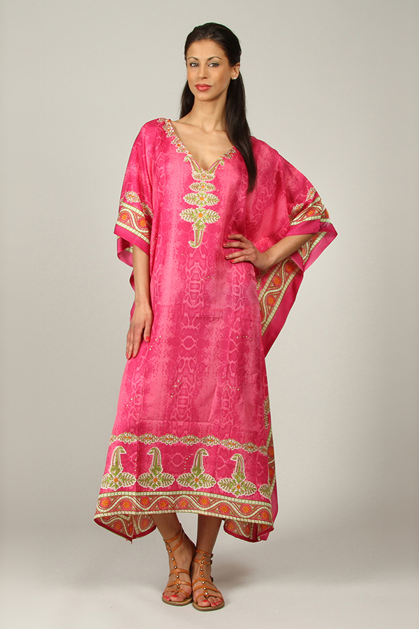 Plus Size B-103 Womens Summer Party Maxi 21801 Pink Kaftan/Dress By Kushi - Pack of 12