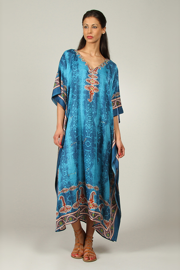 Plus Size B-103 Womens Summer Party Maxi 21801 Turq Kaftan/Dress By Kushi - Pack of 12