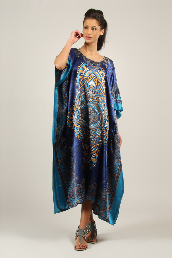 Plus Size B-103 Womens Summer Party Maxi 21859 Satin Blue Kaftan/Dress By Kushi - Pack of 12