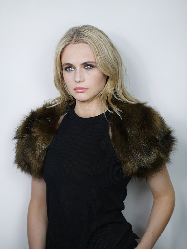 Faux Fur Bolero Brown