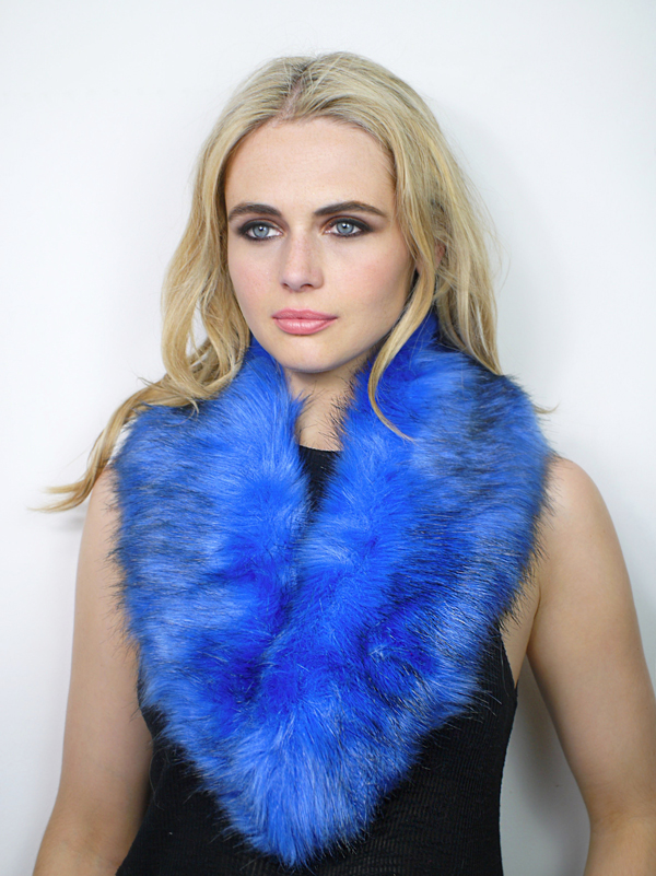 Faux Fur Collar Blue