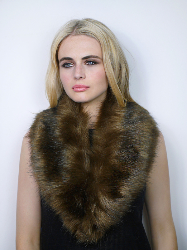 Faux Fur Collar Brown