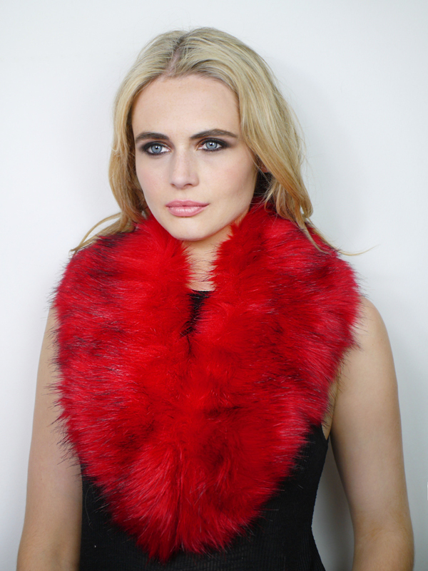 Faux Fur Collar Red