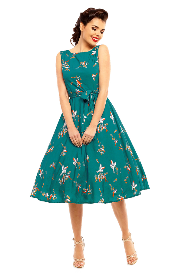 1940's Inspired Audrey Hepburn Swallow Bird Print Retro Vintage Dress - Pack Of 10