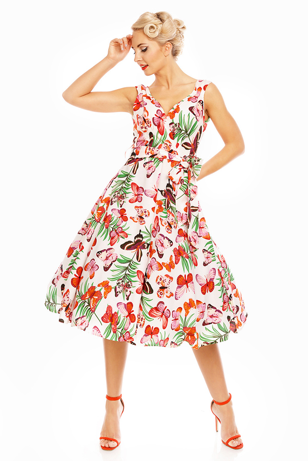 Womens Retro Vintage Orange Butterfly 1950's Party Summer Dress - Pack of 10