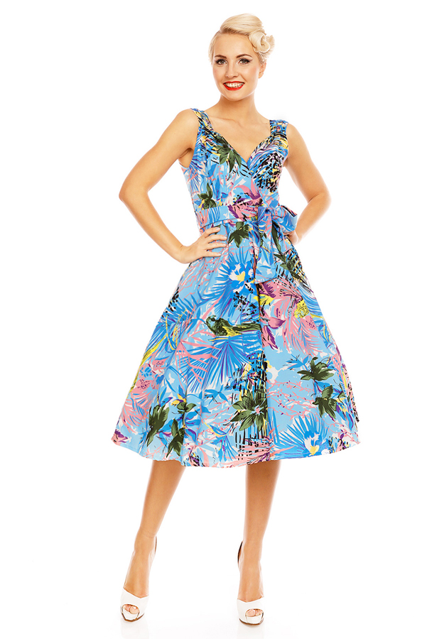 Womens Retro Vintage Light Blue Leaf 1950's Party Summer Dress - Pack of 10