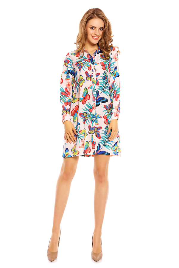 Ladies Long Sleeve Shirt Blouse in Butterfly Print