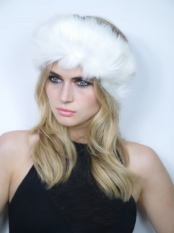 Faux Fur Headband White