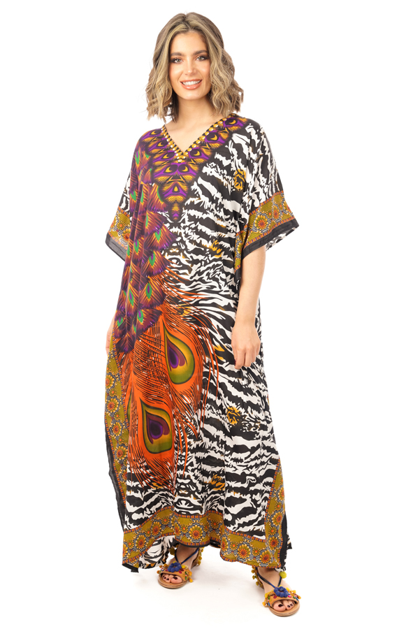 Full Length Long Maxi Tribal Kaftan Dress - 12 Pack