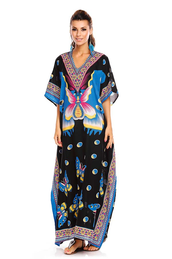 Full Length Kimono Kaftan Maxi Dress - Blue- Pack of 12