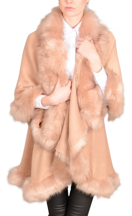 Faux Fur Double Layered Cape in KFP23A-B06 Pink RRP-£80