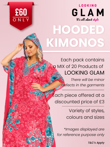 Looking Glam Hooded Kaftans - Job Lot 20 Pcs