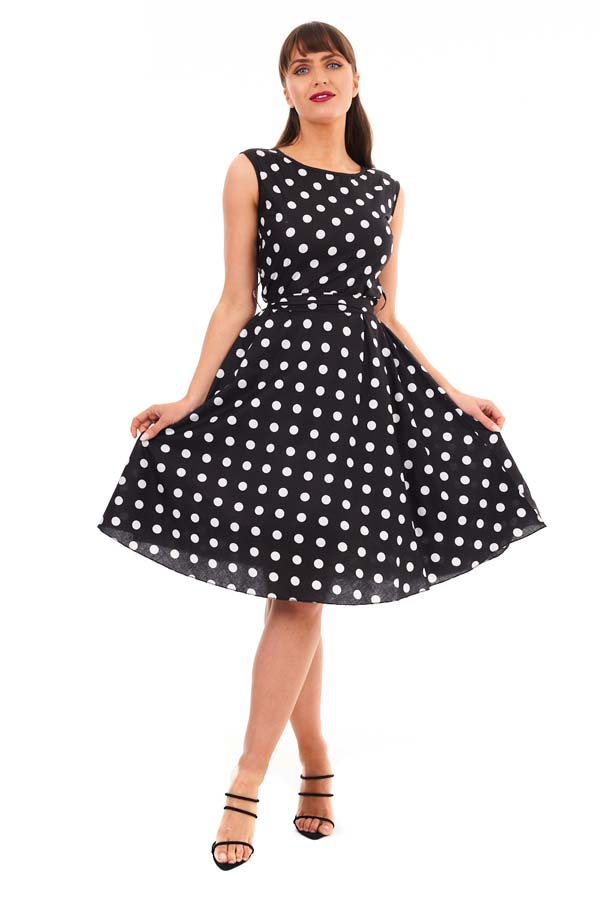 Retro Vintage Audrey Hepburn Style Black Polka Dot Dress Pack of 10