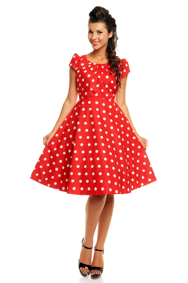 Retro Vintage Polka Dot Audrey Heburn Style 1950's Dress in Red - Pack of 10