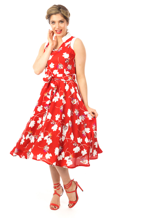 Rose Print Red Vintage Inspired Floral Midi Dress  -  Pack of 10