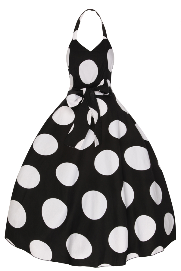 Womens Halter Neck Black 5050 1950's Retro Party Summer Dress - Pack of 10