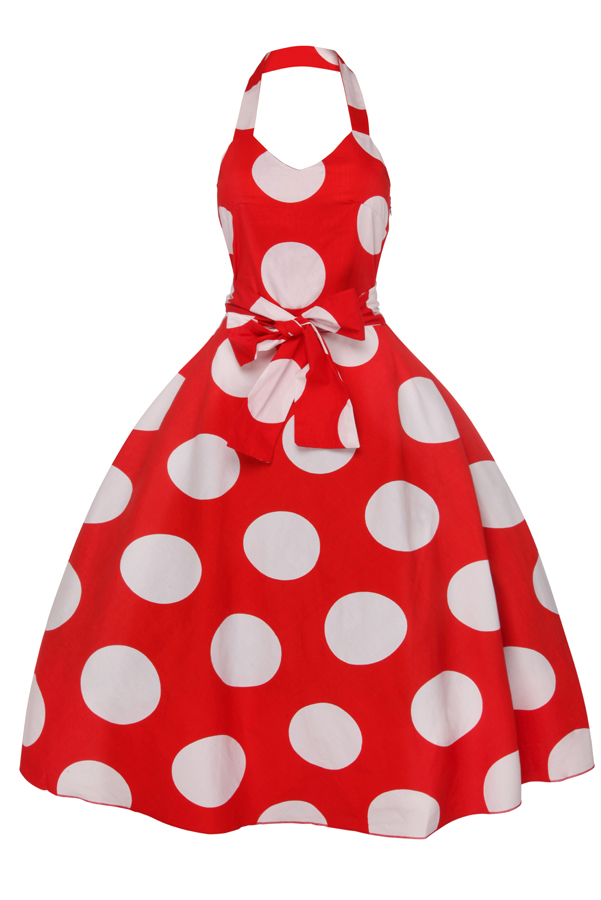 Womens Halter Neck Red 5050 1950's Retro Party Summer Dress - Pack of 10