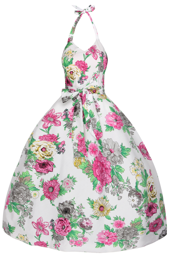 Ladies Floral Halter Neck Retro Vintage Dress in White - Pack of 10