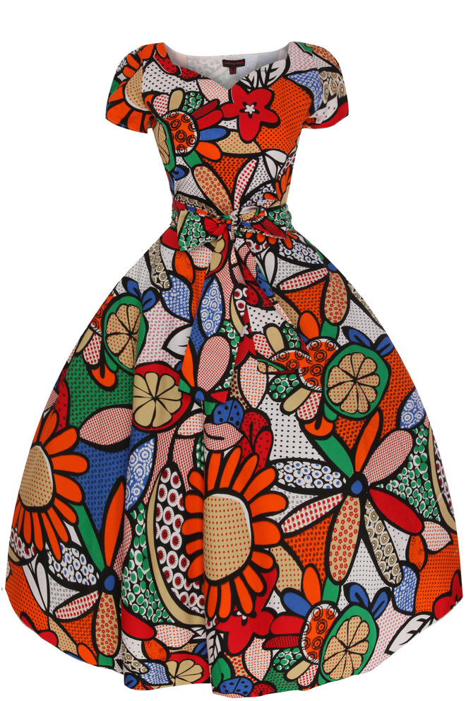 Pop Art Cap Sleeve Retro Vintage 1950's Dress in Orange - Pack of 10