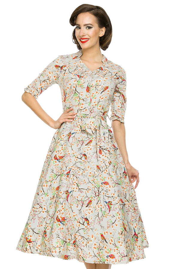 Womens Retro Collared 231 10711 Grey 1950's Party Summer Dress - Pack of 10