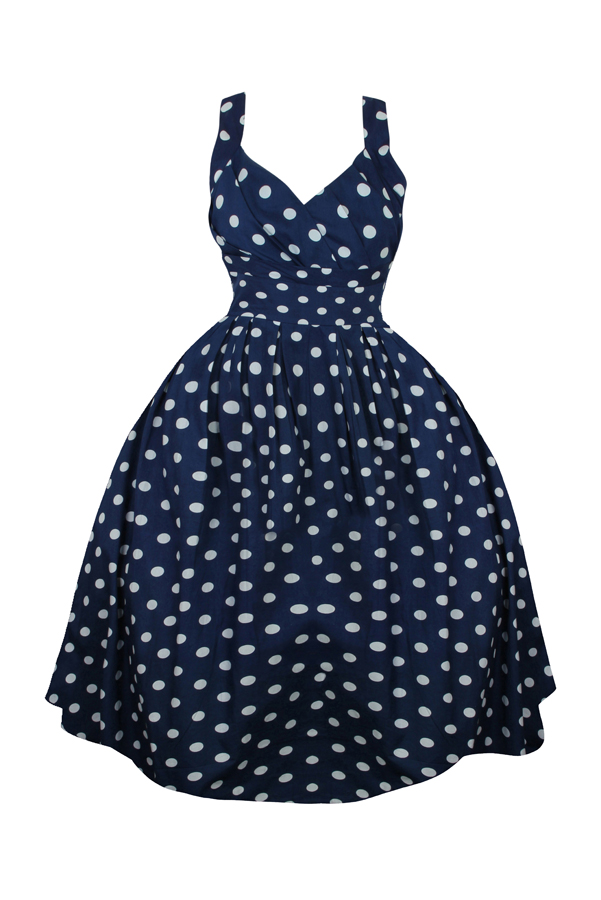 Classic 1950's Retro Vintage Rockabilly Swing Dress in Navy - Pack Of 10