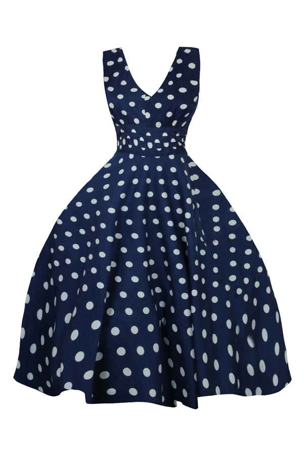 Retro Vintage 1950's Pin Up Swing Polka Dot Dress in Navy - Pack Of 10