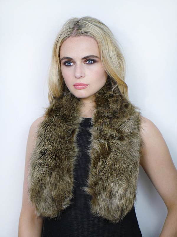 Faux Fur Tippit Brown