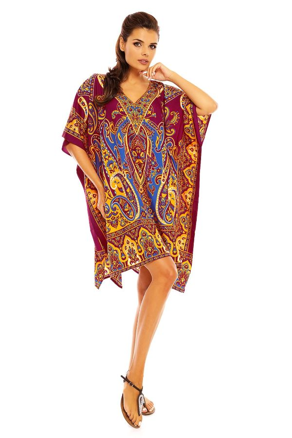 Ladies Midi Tribal Kimono Kaftan in Maroon - Pack of 12