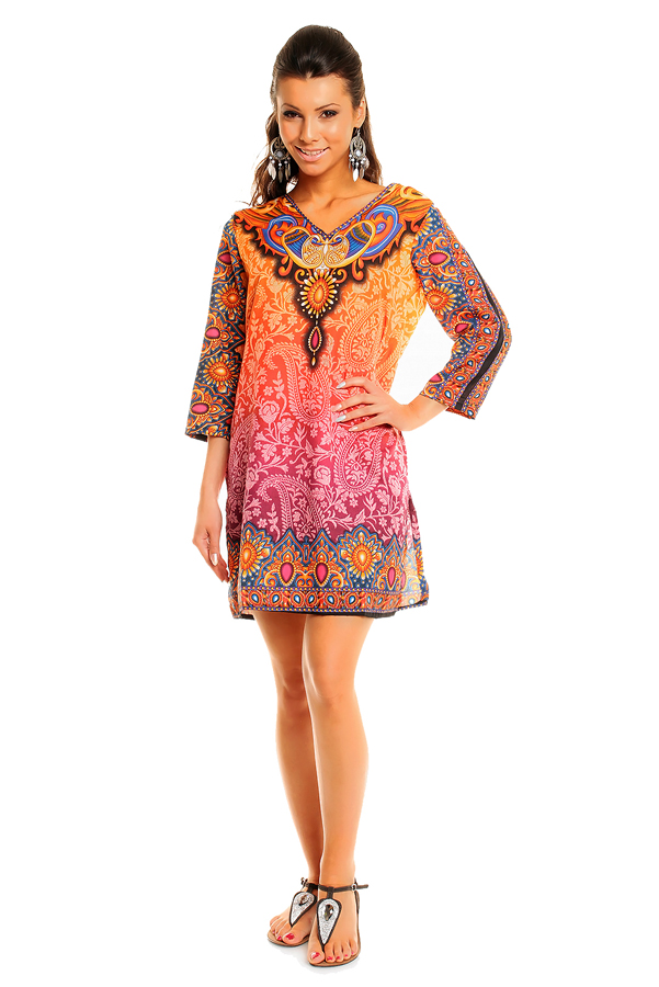 WOMENS TRIBAL ORANGE MIDI KAFTAN KIMONO TUNIC DRESS PACK OF 10