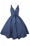 Womens Retro Mid-Tie Navy Polka Dot 1950's Party Summer Dress - Pack of 10