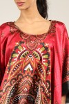 lus Size B-103 Womens Summer Party Maxi 21859 Satin Red Kaftan/Dress By Kushi - Pack of 12