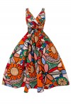 Womens R-202 5002 Orange 1950's Party Summer Dress - Pack of 10