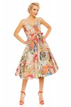 Womens Retro Vintage Beige Leaf 1950's Party Summer Dress - Pack of 10