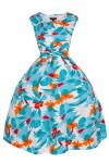 Womens Retro 201 5011 White Mid-Tie 1950's Party Summer Prom Dress - Pack of 10