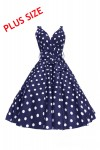 Plus Size Womens Retro Mid-Tie Marilyn Navy Polka Dot 1950's Party Summer Dress - Pack of 10