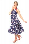 Navy Retro Vintage 1940's Inspired Midi Floral Print Dress - Pack of 10