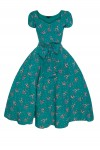 Retro Vintage Pin Up Swing Dress in Bambi Print Teal - Pack of 10