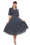 Retro Vintage 1940's Style Polka Dot Shirt Dress in Navy -  Pack of 10