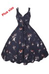 Womens Retro Plus Size Navy Bird 1950's Party Summer Dress - Pack of 10