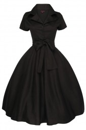 Womens Retro 232 Solid Black 1950's Party Summer Dress - Pack Of 10 - PRE ORDER