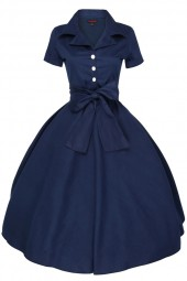 Womens Retro 232 Solid Navy 1950's Party Summer Dress - Pack Of 10