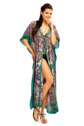 Hooded Tribal Full Length Kaftan In Teal  - 12 Pack