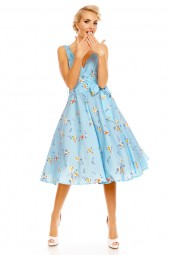 Retro Vintage Pin Up 1950's Swallow Bird Dress In Blue